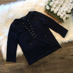 J. Crew Lace-Up Navy Blue Top